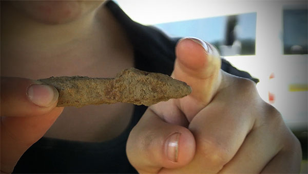 A medieval arrow head found at the site.